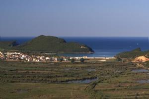 Ammoudia: The bay, seen across the marshy hinterland