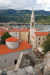 Budva: The alleys of the town showing the tower of St. Ivan's church
