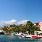 Cavtat: Panorama of the sea front with boats on the quay