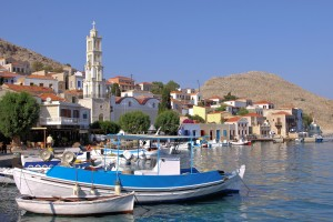 Chalki Town: Fishing boats in front of the town's prominent clock tower