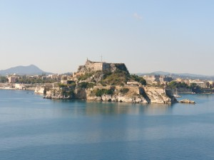 Corfu: The Venetian Fortress with NAOK's harbour far left and Mandraki far right.