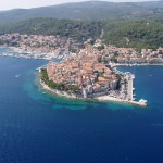 Korcula Luka: Aerial view of the walled town with the ACI marina left.