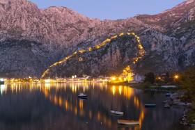Kotor: The fortress walls illuminated at dusk