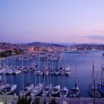 Kusadasi: Sunset over the Marina with the town behind