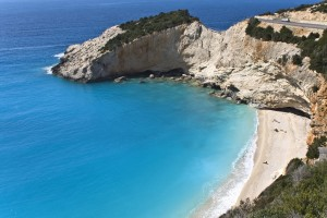 Katsiki: The beach and ice blue waters of the bay