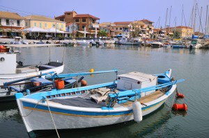 Lefkas Town: Fishing boats in the harbour next to the marina