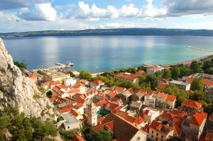 Omis: The town, beach and harbour from the gorge