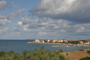 Povljana: The bay and village with the end of the breakwater visible