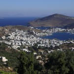 Skala Patmos: The town & harbour, viewed from Monastery of Saint John the Theologian