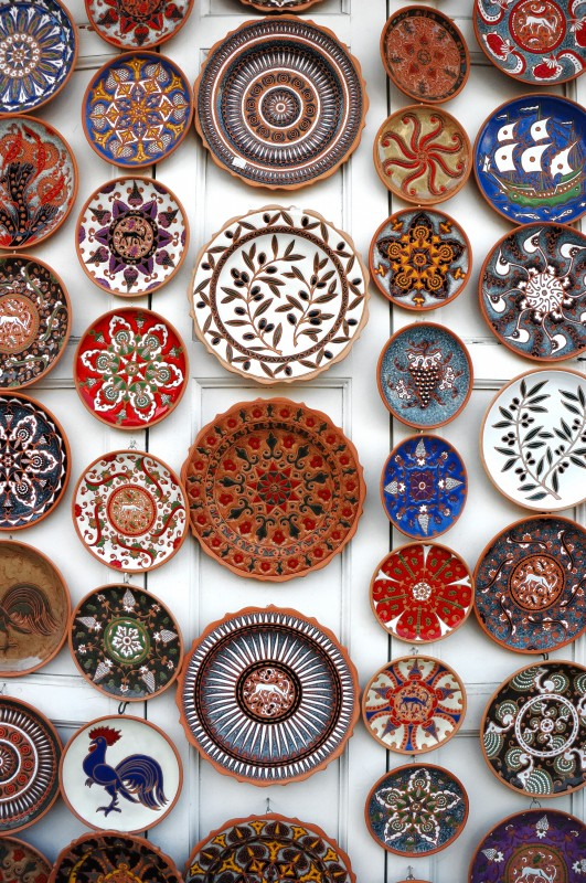 Colourful Decorative Plates In Pottery Shop In Rhodes