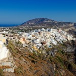 Thira: View from Fira with steps leading down to Skala quay centre