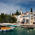 Selce: The pretty sea front with a varied selection of boats