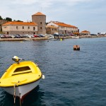 Senj: Small boats in front of the Customs and Harbour Master's offices.