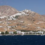 Serifos: The port (Livadi) and main town (Chora) up on the hill, nwith boats anchored