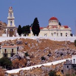 Symi Town: One of the many churches, this one overlooks the harbour