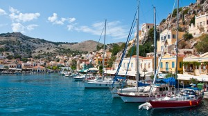 Symi Town: Yachts on the north quay of the inner harbour