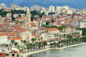 Split: Seafront with the Roman Diocletian's Palace and the Cathedral tower