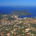 Mourtos: Aerial view with the Islands of Nikolaos, Sivota, and in the distance, Corfu visible