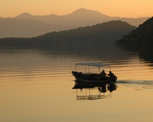 Gocek Bay: Fishermen at sunrise in traditional fishing boat