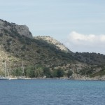 Serce Limani: View up the bay towards the restaurant