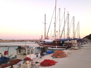 Palamut: Fishing boats and yachts share the quay