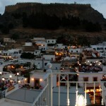 Lindos: Rooftop restaurants with the castle behind