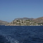 Bozburun channel: The town partly hidden behind the island