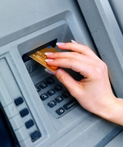 Cash withdrawal from ATM cashpoint machine