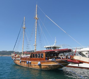 A Turkish Gulet. Great woodwork but not great at sailing