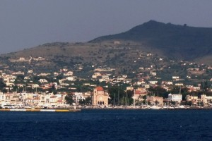 Aegina: The harbour (centre) and marina (right) entrances, with the red cupola