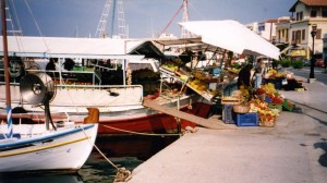 Aegina: Fruit and veg boats in the harbour