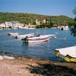 Epidavros: Harbour and town seen from the beach