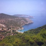Poros: North side, looking west over Vagionia Bay