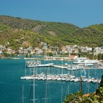 Poros: Pontoons, looking north towards the car ferry dock and Naval College