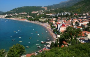 Budva: The beach, popular with sunbathers and swimmers