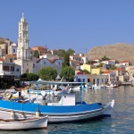Chalki Town: Fishing boats in front of the town