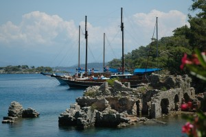 Cleopatra's Bay: The ruins of Cleopatra's Bath House, a popular anchorage for gulets