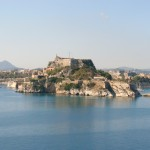Corfu: The Venetian Fortress with NAOK's harbour far left and Mandraki far right.