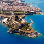 Corfu: The Fortress with Mandraki harbour centre right and the commercial port top