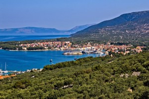 Cres Town: View across the town and harbour with the marina just visible, left