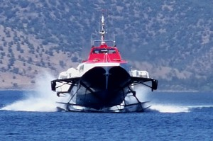 Hydra: Hydrofoil approaching the port. Watch out for them reversing out of the harbour