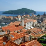 Dubrovnik: The Church of St Vlaho and the Cathedral, with the island of Lokrum behind