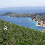 Luka: The bay with anchorage and harbour, looking towards the island of Iz