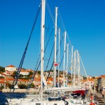 Sali: Yachts on the east quay of the harbour