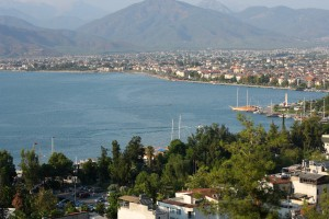 Fethiye: Looking over the bay and town. The town centre is to the right