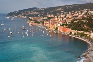 Villefranche: The town and north harbour with behind, the Citadel and marina entrance