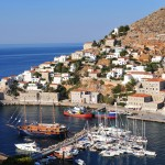 Hydra: Harbour entrance and north quay / breakwater