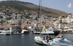 Hydra: South quay, with the cargo boat that delivers the islands provisions in it's usual spot