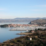 Izola: Winter shot of the old town, the marina, and surroundings