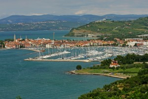 Izola: The old town on the promontory with the harbour and marina